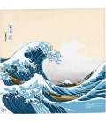 Yamada Seni Musubi - Fazzoletto giapponese - Ukiyo-e La Grande Onda di Kanagawa (beige) - 100% Cotone