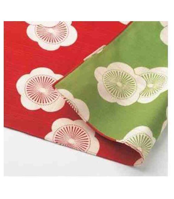 Yamada Seni Musubi - Fazzoletto giapponese - Reversible (rosso e verde) - 100% Cotone