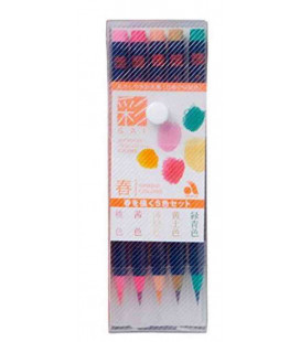 Akashiya Watercolore Brush Pen Sai - Set da 5 Colori (Primavera)