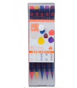 Akashiya Watercolore Brush Pen Sai - Set da 5 colori (Autunno)