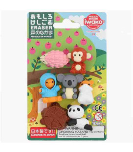 Iwako Puzzle Eraser - Animali della Foresta - (Mini Gomme kawaii) Made in Japan