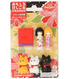 Iwako Puzzle Eraser - Doll & Lucky Cat - (Mini Gomme Kawaii) Made in Japan