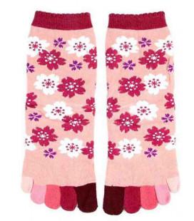 """Calzetti da donna con """"cinque dita"""" - Kurochiku (Kyoto) - Modello Sakura (Taglia unica 23-25 cm)"""