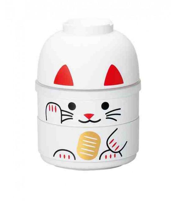 Hakoya Kokeshi Bento - Taglia M - Modello 52677-6 (Maneki-Neko) - Colore bianco