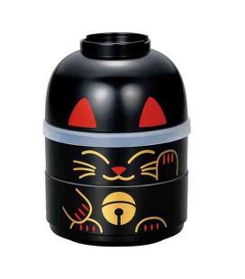 Hakoya Kokeshi Bento - Taglia M - Modello 52678-3 (Maneki-Neko) - Colore nero