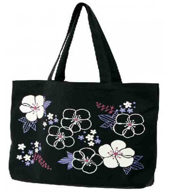 Borsa Giopponese in tela Kurochiku - Modello: Black flowers - 100% cotone