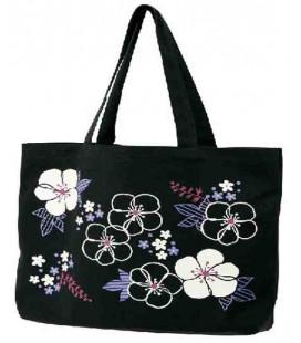 Bolso japonés Kurochiku (Kyoto)- Modelo Flores Negras