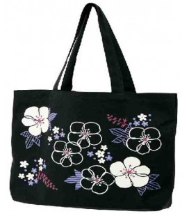 Borsa Giopponese in tela Kurochiku (Kyoto)- Modello: Black flowers