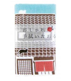 Asciugamano giapponese tenugui Kurochiku (Kyoto)- Modello: Neko Sanpo