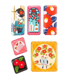 Kurochiku - 6 Pieces Japanese Print Magnet - Tsubaki