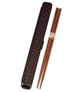bacchette giapponesi con custodia - Modello 33052 - Set Tamari (Marrone)