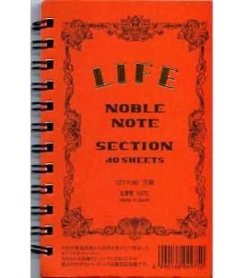 Life Noble Note - N70 (Formato 127x80mm - arancia - Quadrettato - 40 Fogli)