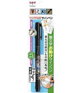 Pennarello Tombow - Fudenosuke Brush Pen GDC 112 - Punta flessibile e fine - Inchiostro nero