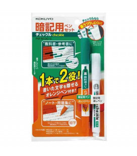 Bolígrafo, corrector y lámina para memorizar (Verde/Naranja) - Incluye lámina roja semitransparente