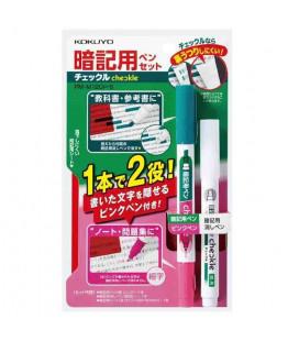 Penna a doppia punta , correttore e foglio rosso semitrasparente Kokuyo (Verde/Rosa) Include Foglio Rosso